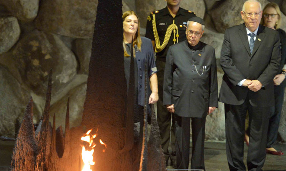 Jerusalem, Israel,  13 Oct, 2015. :  President, Pranab Mukherjee laid wreath at the tomb of Theodor Herzl, at Mount Herzl.