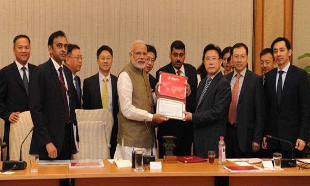 Delhi , 16 Oct 2015: Delegation of SANY Group and Chinese Businessmen call on PM Narendra Modi
