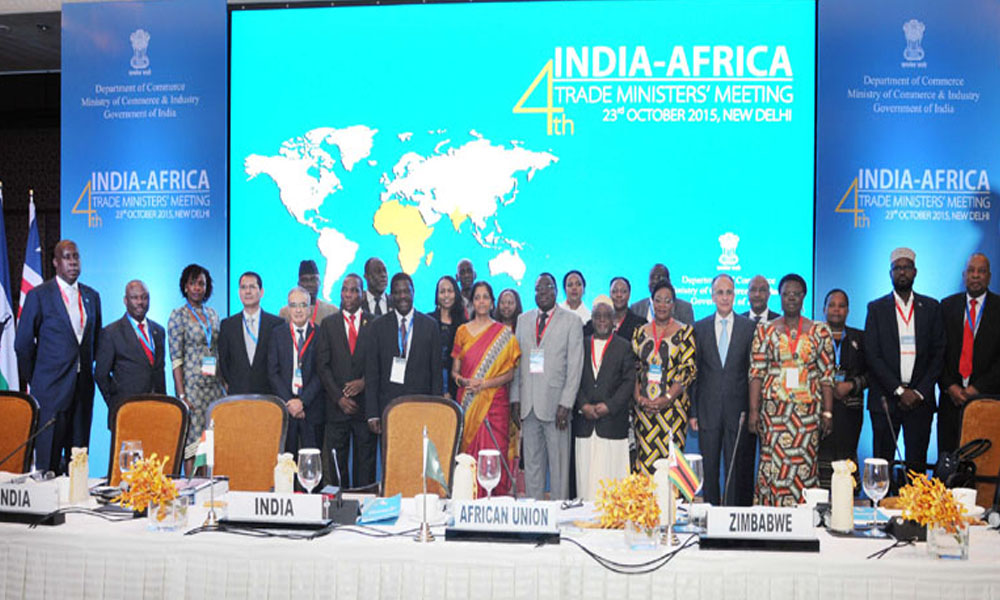 Delhi, 23 Oct 2015: Minister of State for Commerce & Industry (Independent Charge),  Nirmala Sitharaman in a group photograph at the 4th India-Africa Trade Ministers` meeting.