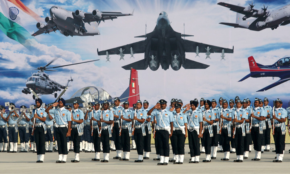 Uttar Pradesh, 7 Oct 2015: Glimpses of Air Force Day Parade full dress rehearsal at Air Force Station Hindan.