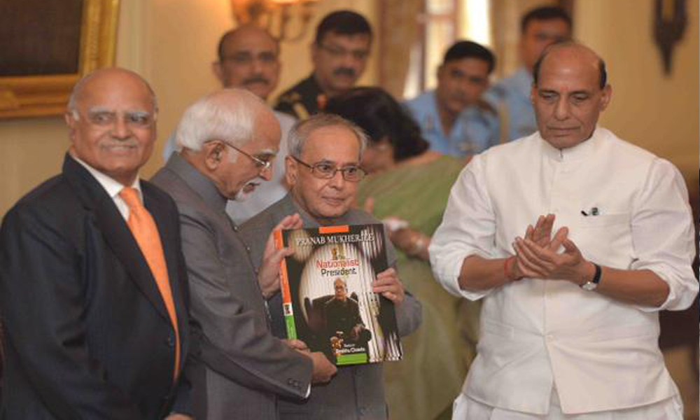"Delhi, 8 Oct, 2015: President Mukherjee received first copy of a Coffee Table book ""The Nationalist President - Pranab Mukherjee"" today"