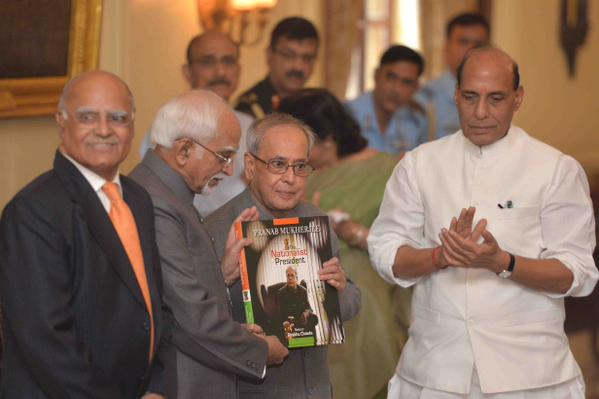 "Delhi, 8 Oct 2015: President Mukherjee received first copy of a Coffee Table book ""The Nationalist President - Pranab Mukherjee"" today"