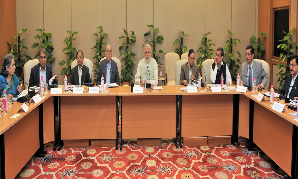 Delhi: 10 Nov 2015: PM Narendra Modi chairing a review meeting under PRAGATI, on the progress of works across various infrastructure sectors.