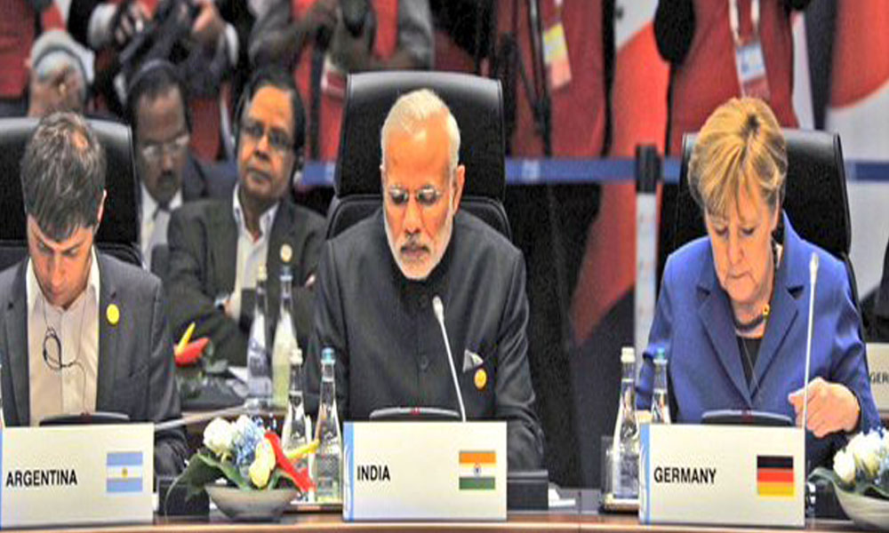 London: 16 Nov 2015:  PM Narendra Modi attends G20  summit with Germany Chancellor Angela Merkel focus on employment of women and, on youth this year.