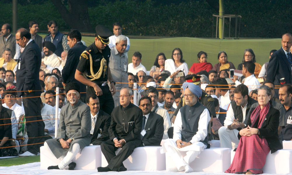 19 Nov 2015: President, Pranab Mukherjee, the Vice President Hamid Ansari, the former PM Manmohan Singh and other dignitaries at the Sarva Dharma Prarthana Sabha, at the Samadhi of the former PM Indira Gandhi, on her 98th Birth Anniversary, at Shakti