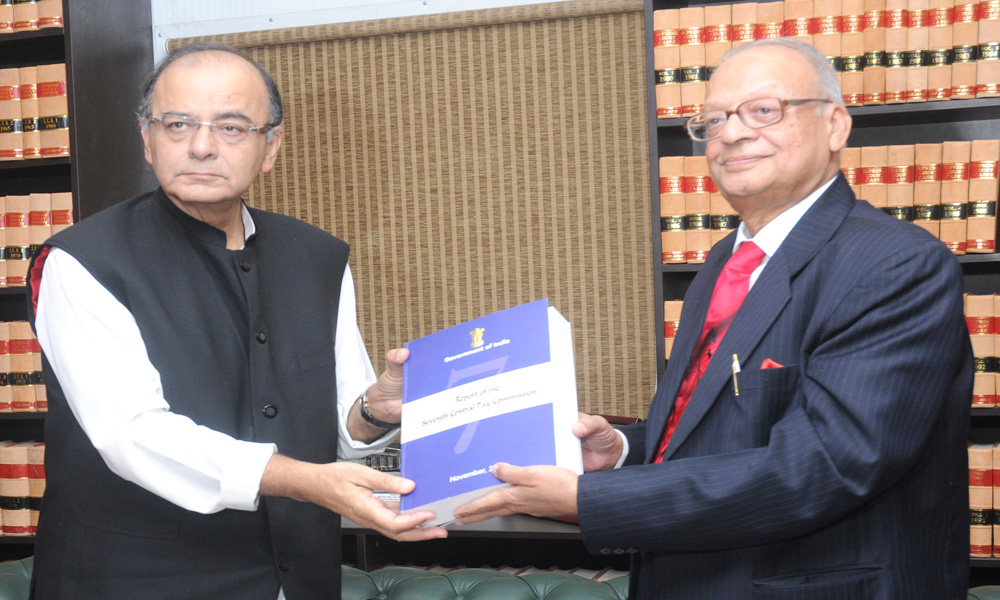 Delhi: 20 Nov 2015: Chairman of the Seventh Pay Commission, Justice A.K. Mathur submitted its report to Finance Arun Jaitley