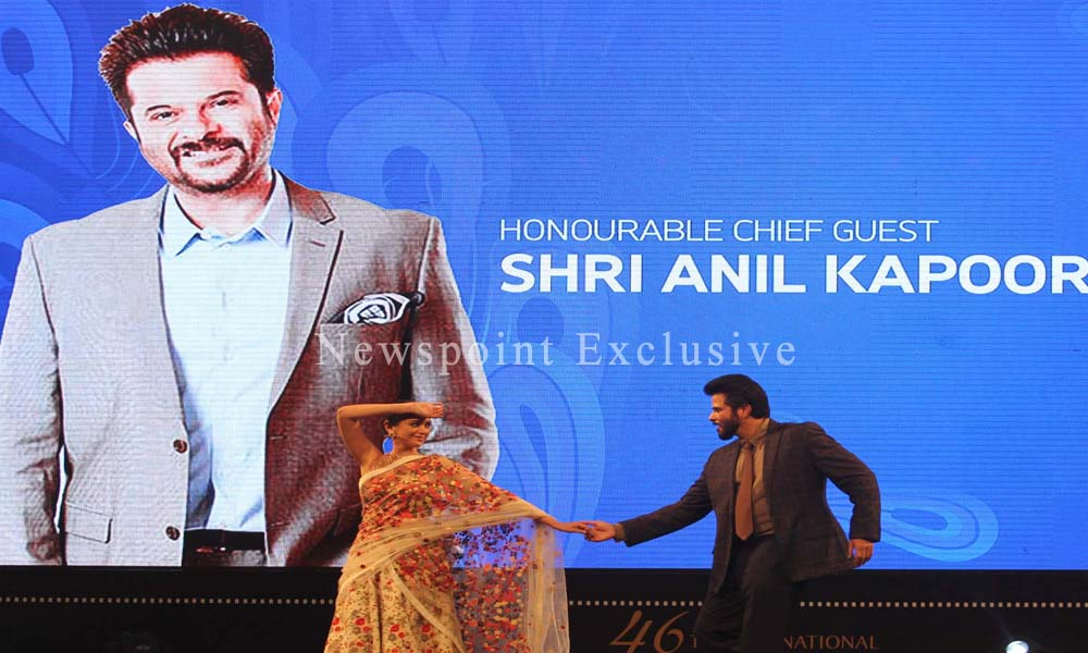 Goa: 21st Nov 2015: Guest of Honor Mr. Anil Kapoor shake a leg with Aditi Rao at The 46th International Film Festival of India, IFFI.