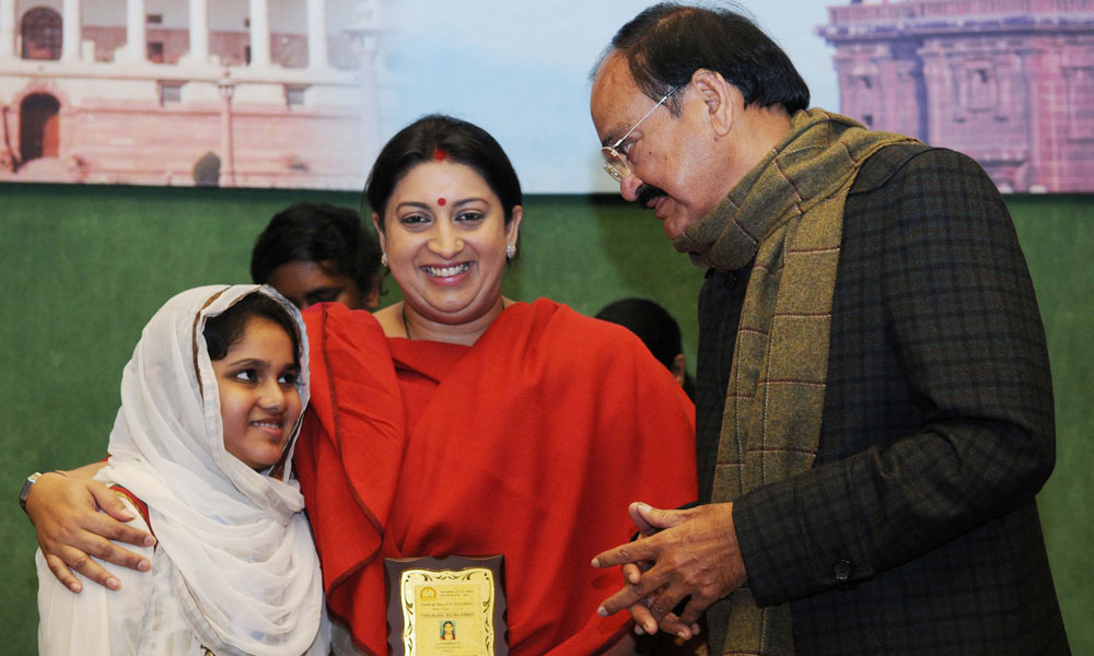 Tamil Nadu: 17 Dce 2015: Parliamentary Affairs, M. Venkaiah Naidu and HRD Minister Smt. Smriti Irani felicitated the noted Tamil Scholars and Thirukural recitation winners from Tamil Nadu, at Parliament House,