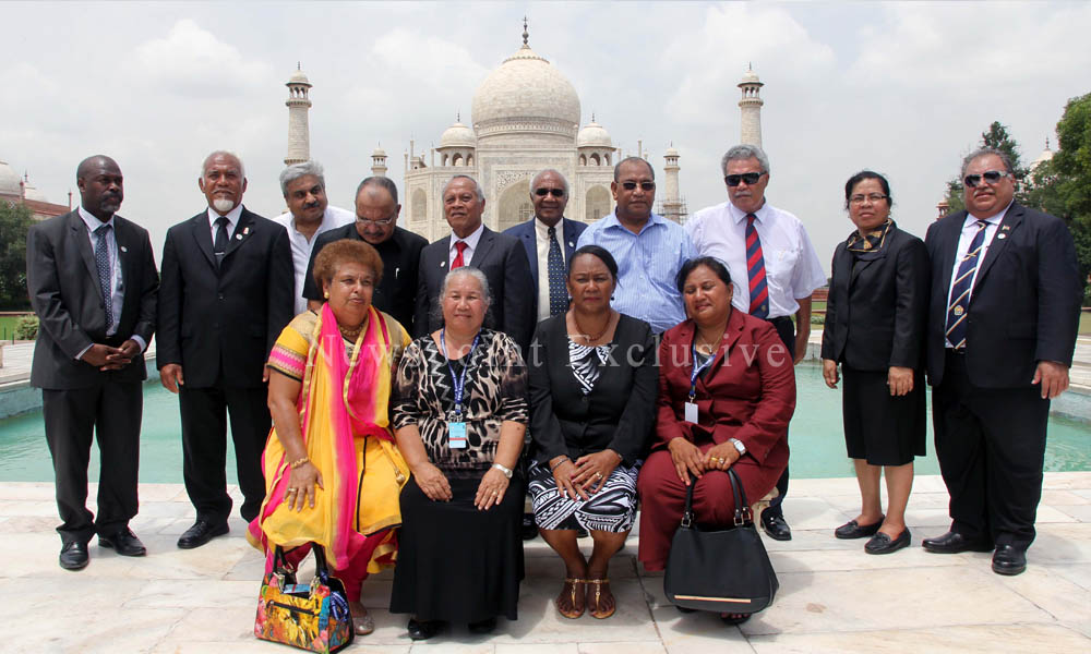 Agra, 20 Aug 2015: Foreign Delegates pose for a photo in front of Taj Mahal.
