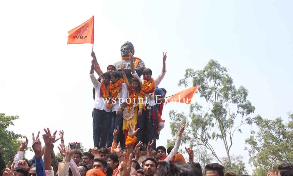 New Delhi, 12th Sept. 2015: ABVP Candidates celebrate their victory in DUSU elections.