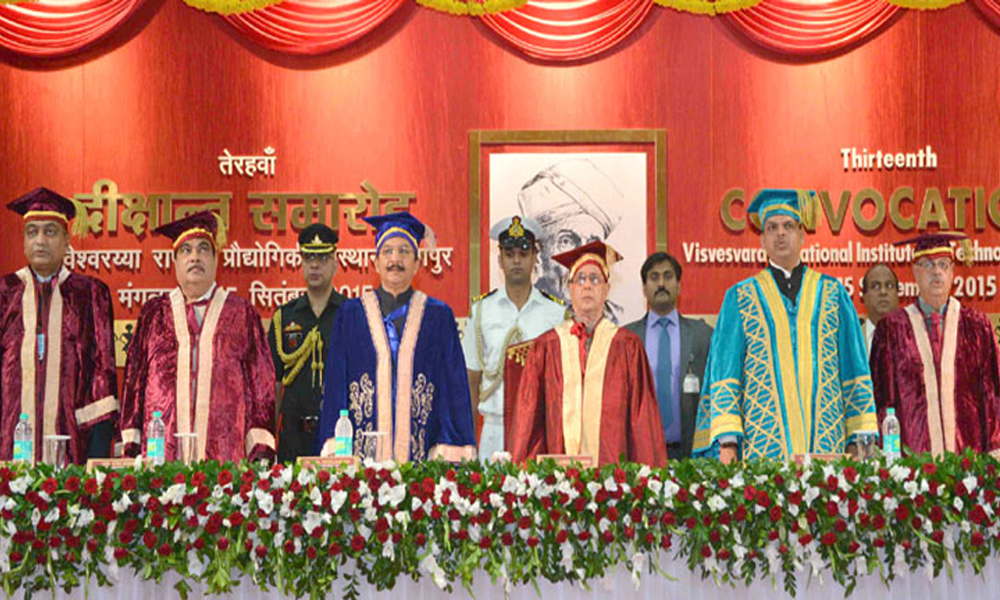 Maharashtra, 15 Sept, 2015: Pranab Mukherjee at the 13th convocation of Visvesvaraya National Institute of Technology, along with Governor, C. Vidyasagar Rao, Union Minister Nitin Gadkari & CM Devendra Fadnavis