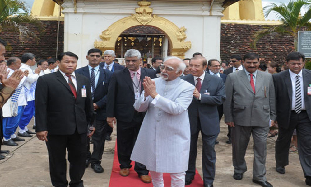 Vientian:  18 Sept, 2015: The Vice President,Mohd. Hamid Ansari visits the That Luang Stupa, in Vientian to attend ASEAN Summit