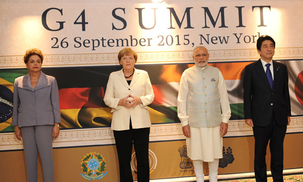 New York, 26th Sept.2015: The Prime Minister, Shri Narendra Modi with the leaders of other G-4 Nations,