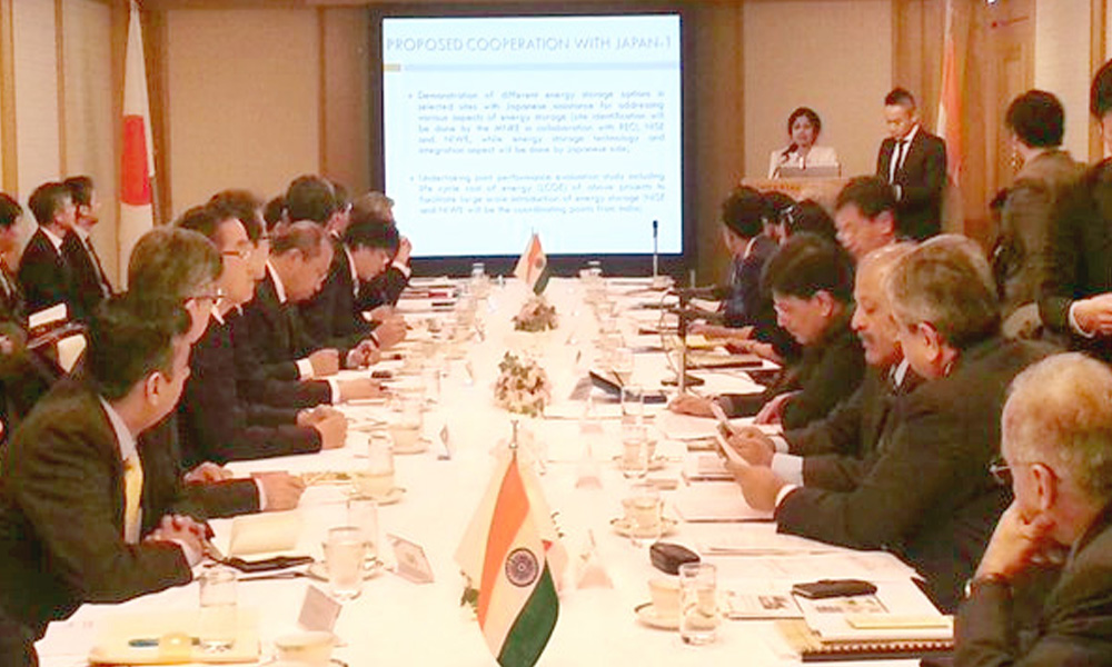 Tokyo,Japan;14th Jan 2016:The Minister of State (Independent Charge) for Power, Coal and New and Renewable Energy, Shri Piyush Goyal addressing the India-Japan round table conference on Energy Storage Technologies.