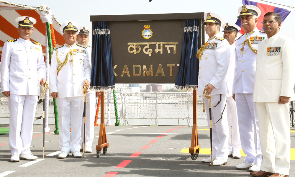 Andhra Pradesh: 8th Jan 2016: Chief of Naval Staff, Admiral R.K. Dhowan unveiling the plaque on the commissioning of the INS Kadmatt, at Naval Dockyard, Visakhapatnam.