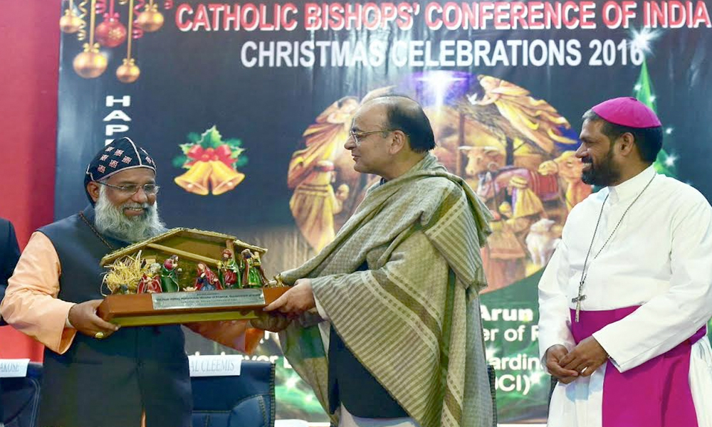 14 Dec. 16: Arun jaitley presented with memento by President of Catholic Bishops Conference of India.