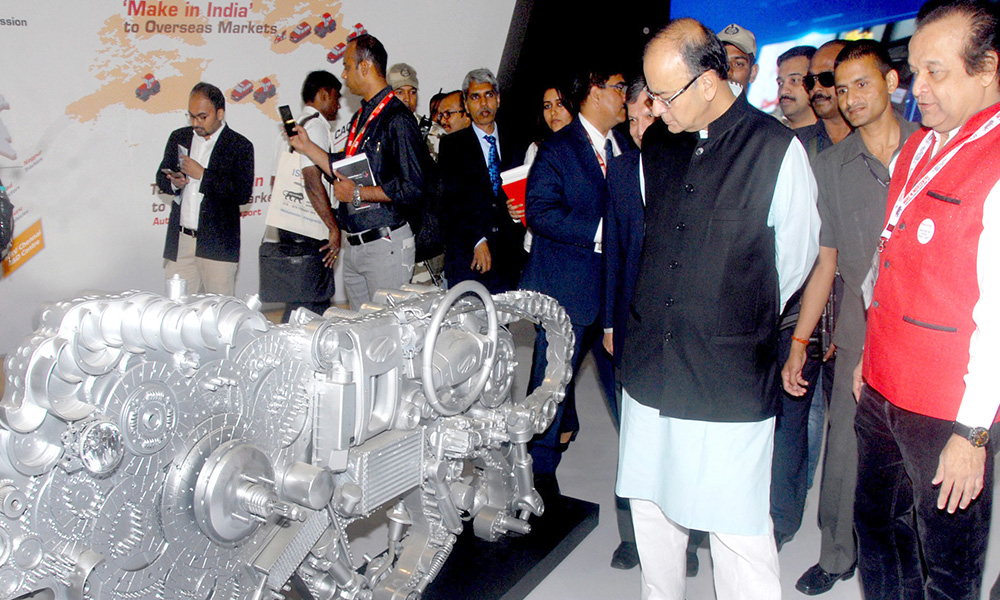 Mumbai, 14th Feb 2016: The Union Minister for Finance, Corporate Affairs and Information & Broadcasting, Arun Jaitley visiting the Make in India exhibition