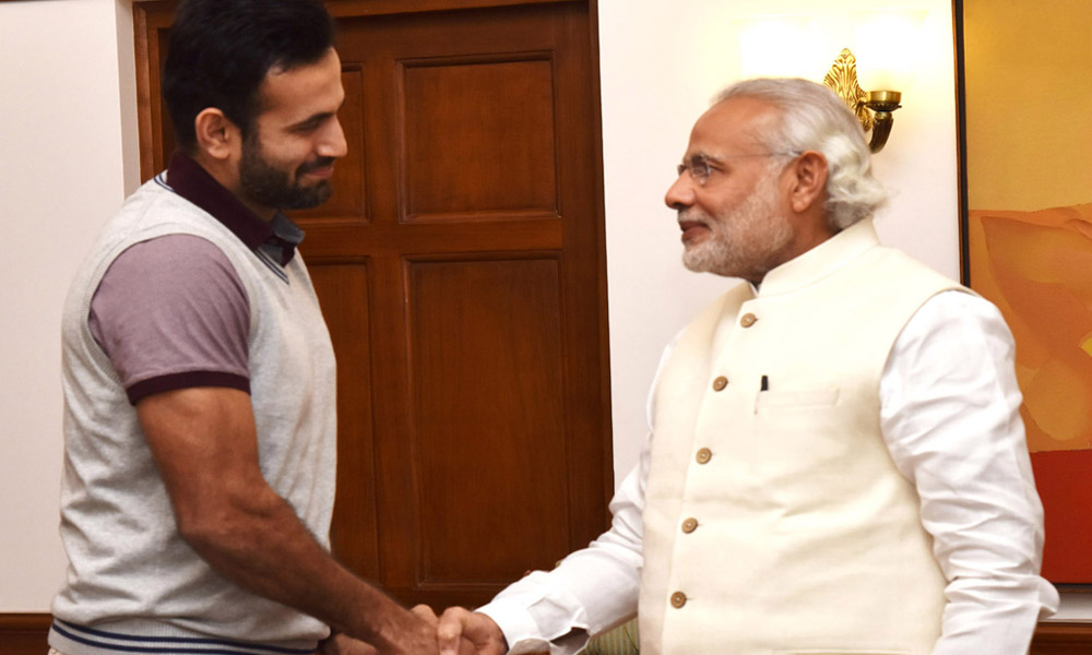 Delhi, 24 Feb 2016: Cricketer Irfan Pathan calls on the Prime Minister, Narendra Modi.