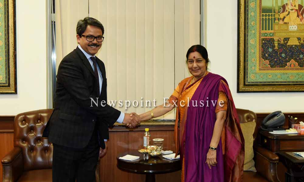 New Delhi,5th February 2016: State Minister for Foreign Affairs Md Shahriar Alam calls on India`s External Affairs Minister Sushma Swaraj.