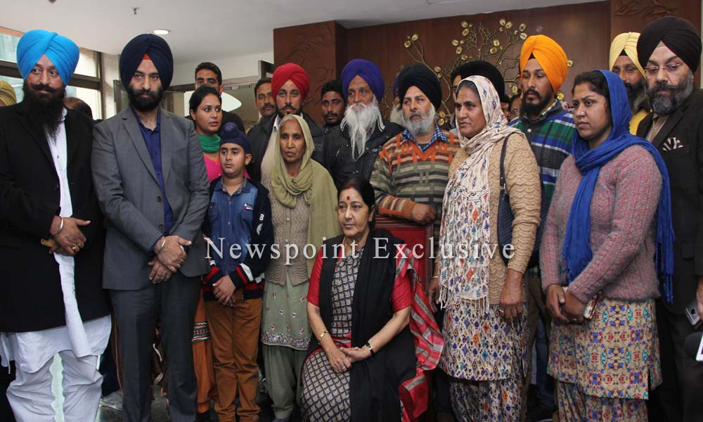 New Delhi, 8th February 2016:Families of those who stuck in worn-tor Iraq meet foreign minister Sushma Swaraj.