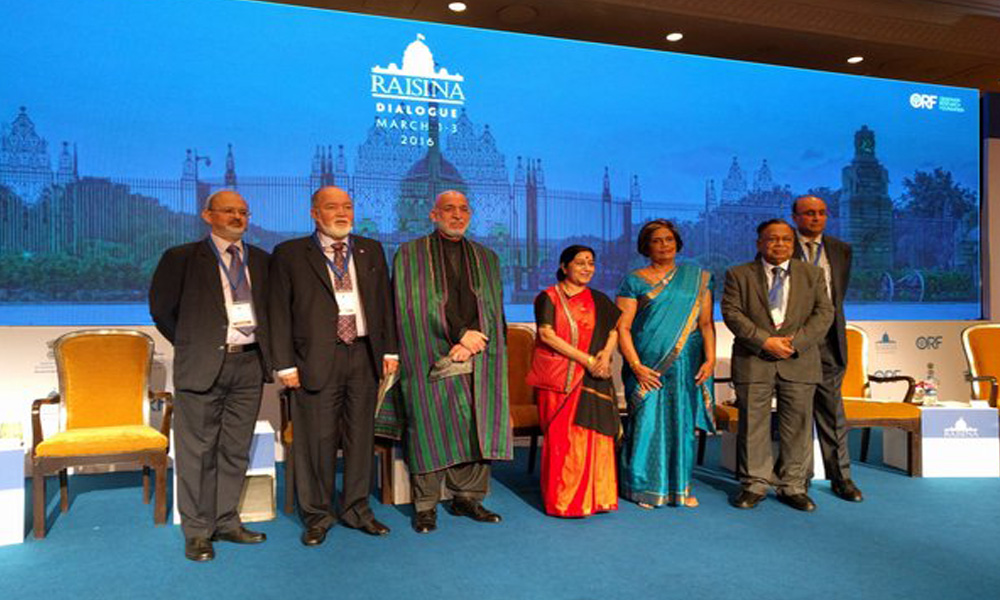 Delhi, 2 March 2016: Rethinking Asian Connectivity with Raisina EAM Sushma Swaraj & dignitaries at inauguration of Raisina Dialogue