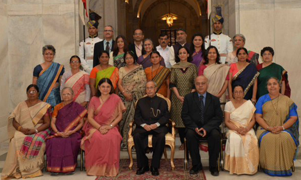Delhi, 8th March 2016: President Pranab Mukherjee presented Nari Shakti Puruskars to mark #InternationalWomensDay at Rashtrapati Bhavan today