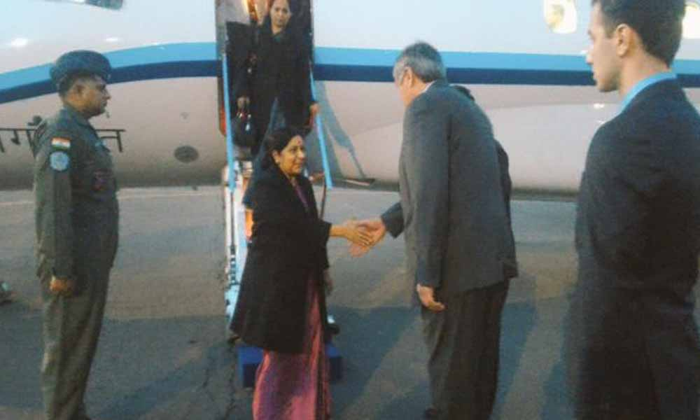 Russia, 18 April 2016: Namaste Moscow! EAM Sushma Swaraj arrives in Russia to attend RIC Foreign Ministers Conference tomorrow