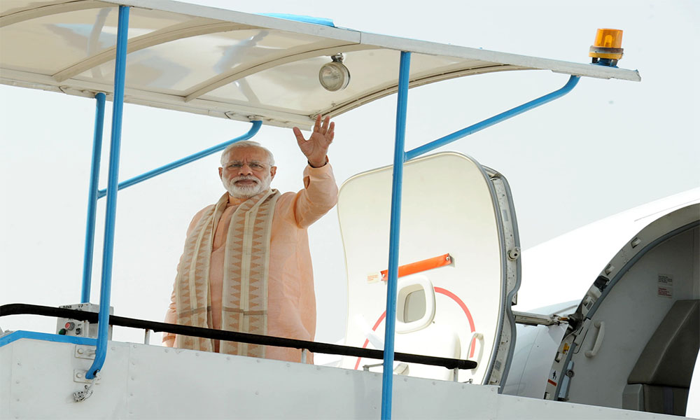 Delhi, 4th June 2016:  The Prime Minister, Narendra Modi emplanes for Herat, Afghanistan, marking the start of his 5 nation tour.