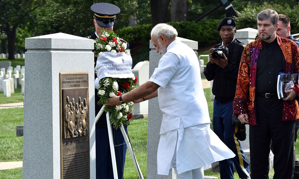 Washington DC, 7th June 2016: The Prime Minister, Narendra Modi laying wreath at Space Shuttle Columbia Memorial, in Washington DC .