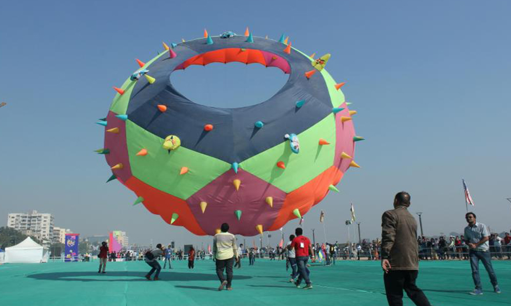 Ahmedabad, 08 Jan. 17: International Kite Festival begins at Sabarmati river front; more than 100 foreign kite fliers are participating in this event.