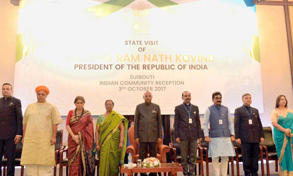 Djibouti, 4th Oct.2017: The President, Shri Ram Nath Kovind at the Indian Community Reception hosted by the Ambassador of India to Djibouti, Shri Anurag Srivastava