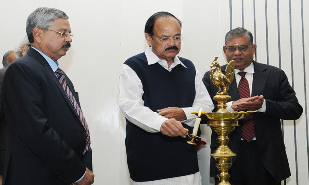 Delhi, 11th Dec.2017: The Vice President, Shri M. Venkaiah Naidu lighting the lamp at an event to celebrate the Human Rights Day, organised by the National Human Rights Commission