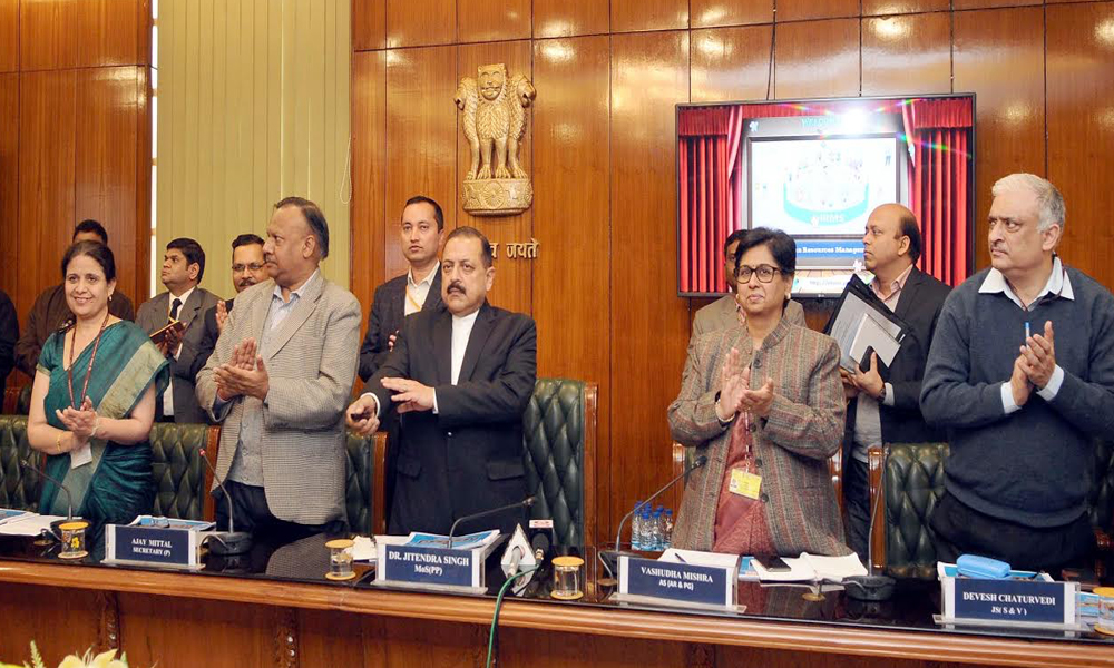 Delhi, 26th Dec.2017: Dr. Jitendra Singh launching the electronic-Human Resource Management System (e-HRMS), during the observance of Good Governance Day by the Ministry of Personnel, Public Grievances and Pensions