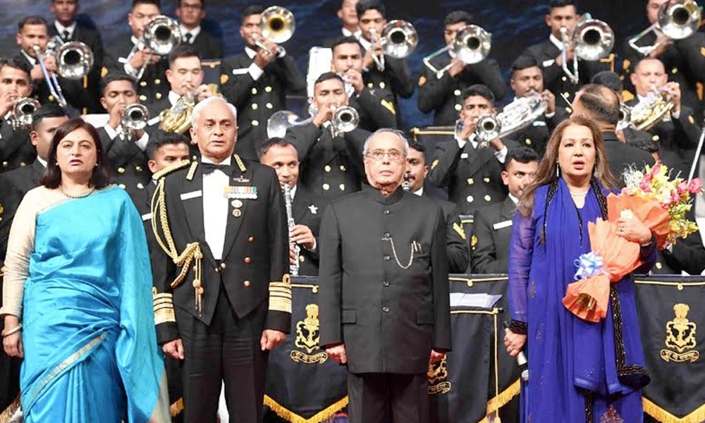 Delhi, 11th Feb.2017: The President, Shri Pranab Mukherjee at the Naval Symphonic Orchestra 2017