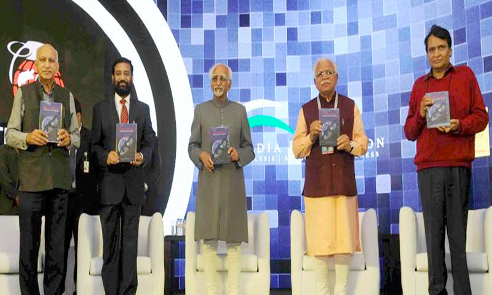 Delhi, 15th March.2017: Shri M. Hamid Ansari releasing the book titled 'Global Terrorism - Challenges and Policy Options' at the inaugural session of the 3rd Counter Terrorism Conference