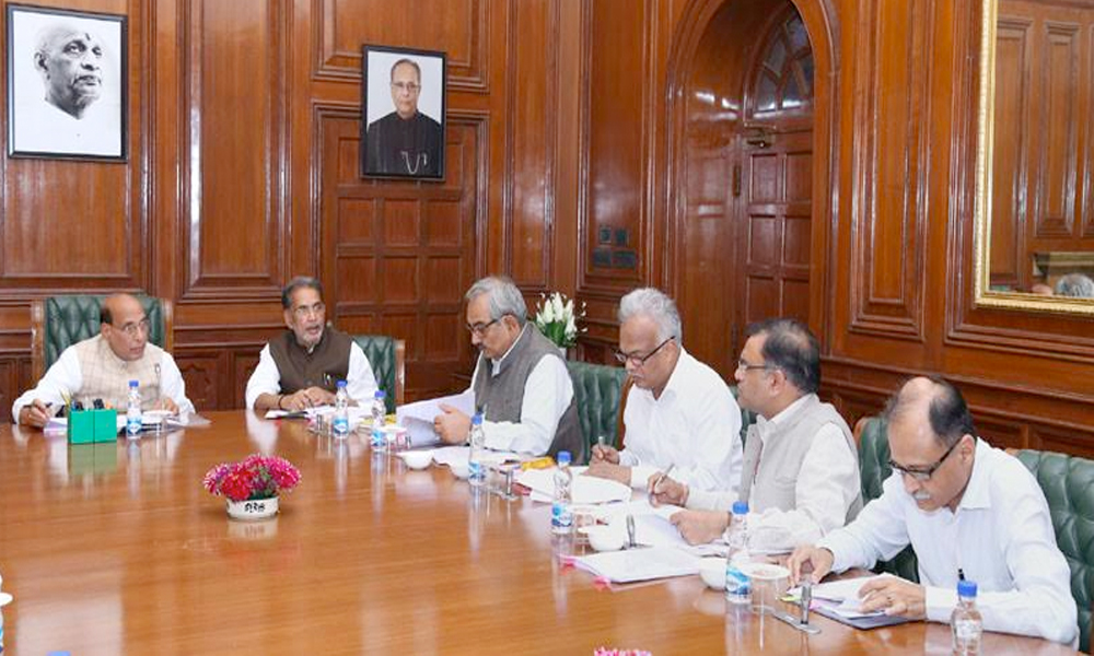 Delhi, 24th March.2017: The Union Home Minister, Shri Rajnath Singh chairing a high level committee meeting for Central Assistance to States affected by natural disasters