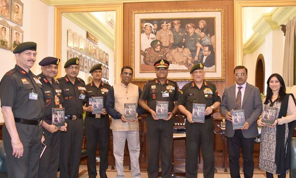 Delhi, 28th March.2017: The Chief of Army Staff, General Bipin Rawat releasing the book 'Home of the Brave' on the history of Indian Army's Counter Insurgency Force, the Rashtriya Rifles