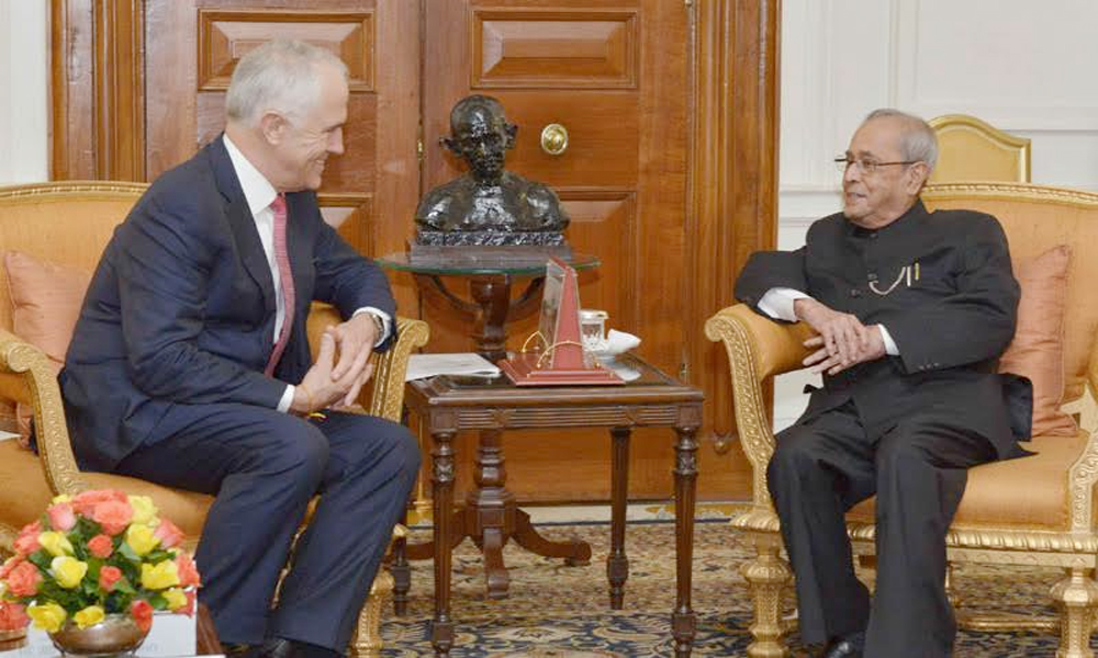 Delhi, 11th April.2017: The Prime Minister of Australia, Mr. Malcolm Turnbull meeting the President, Shri Pranab Mukherjee, at Rashtrapati Bhavan