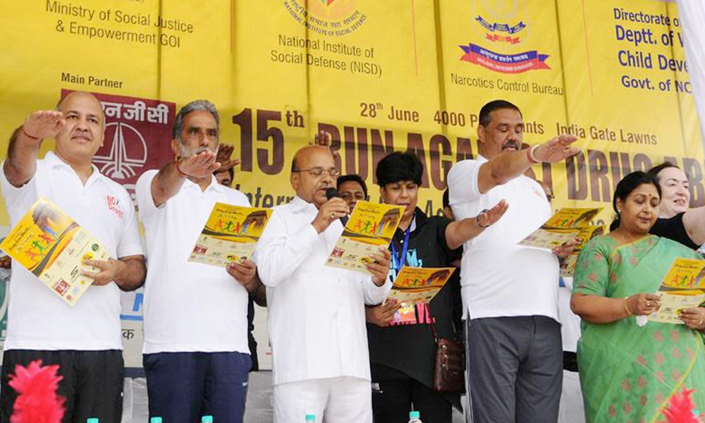 "Delhi, 28th June.2017: Union Minister, Shri Thaawar Chand Gehlot at the inauguration of a Mass Event ""Run Against Drug Abuse"", on the occasion of the ""International Day against Drug Abuse & Illicit Trafficking"""