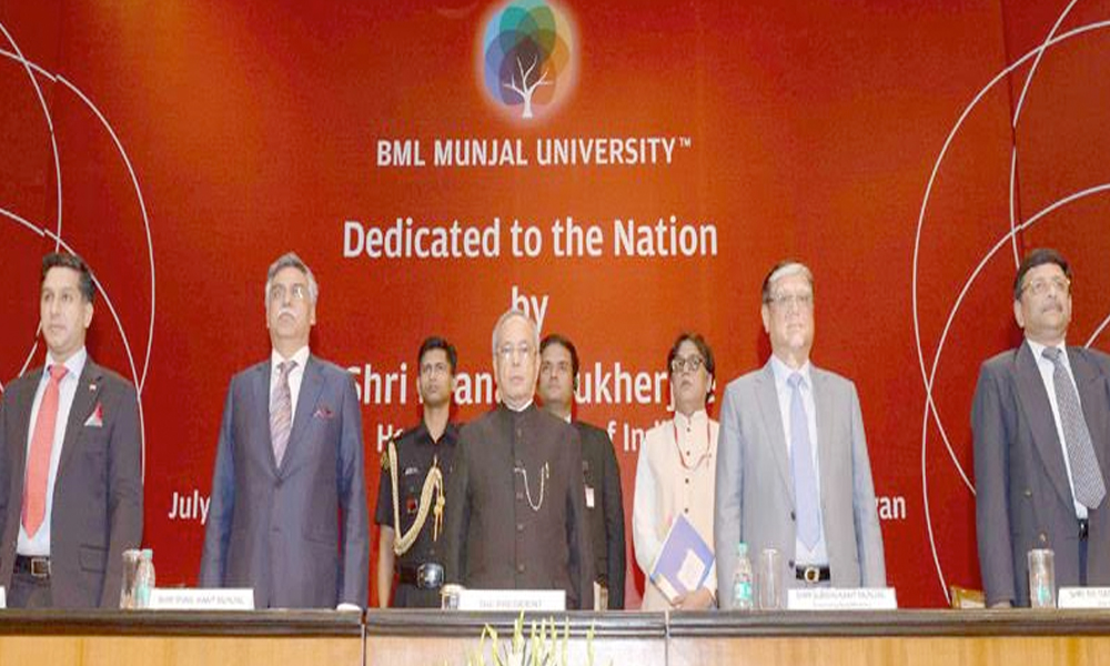 Delhi, 13th July.2017: The President, Shri Pranab Mukherjee at the dedication ceremony of the BML Munjal University, Gurgaon, Haryana to the Nation, at Rashtrapati Bhavan