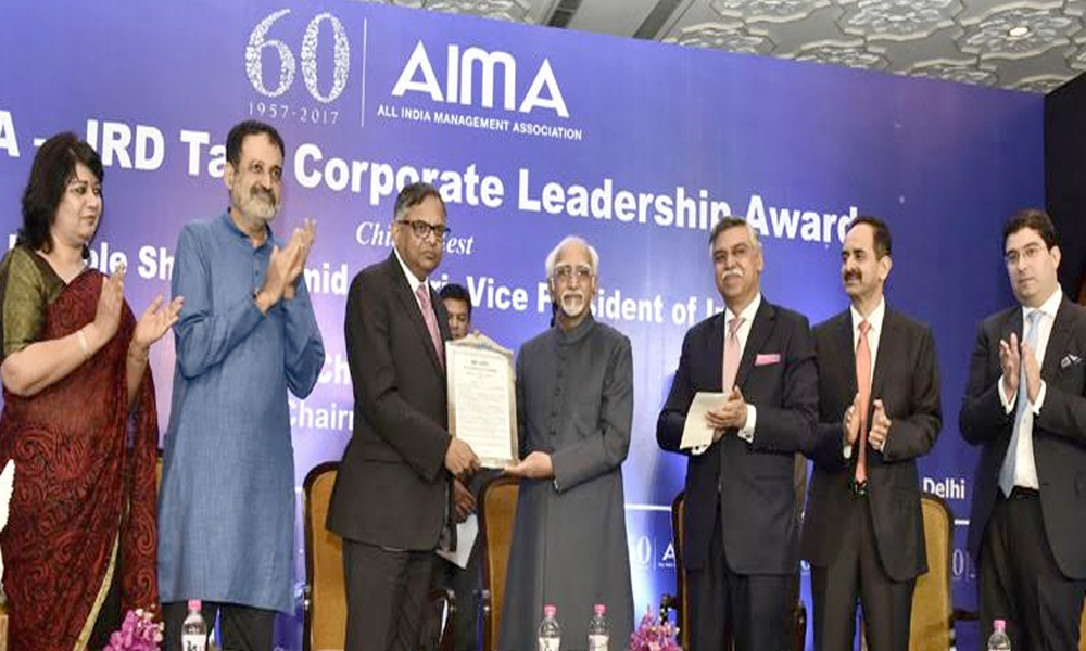 Delhi, 19th July.2017: The Vice President, Shri M. Hamid Ansari presenting the AIMA - JRD Tata Corporate Leadership Award to Shri N. Chandrasekaran, Chairman of Tata Sons Ltd
