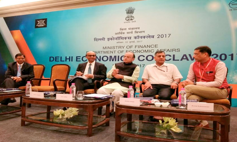 Delhi, 22nd July.2017: Finance Minister Arun Jaitley speaks at Delhi Economics Conclave 2017 in New Delhi