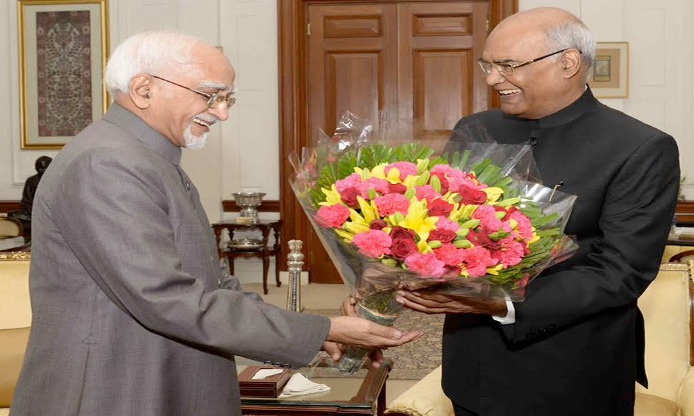 Delhi, 26th July.2017: The Vice President, Shri M. Hamid Ansari calling on the President, Shri Ram Nath Kovind