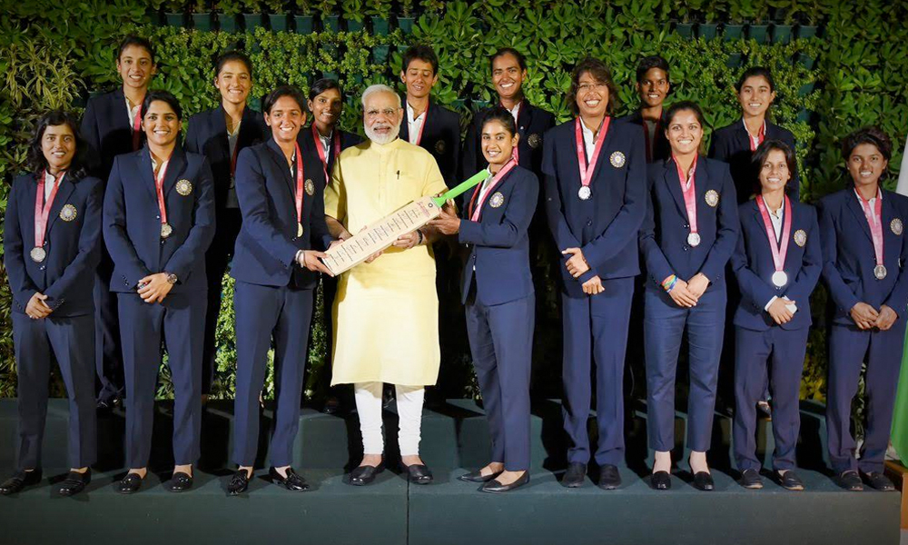 Delhi, 28th July.2017: Prime Minister Narendra Modi interacted with the Indian cricket team that took part in the women`s cricket world cup