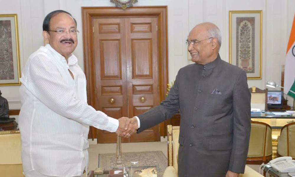 Delhi, 30th Aug.2017: Vice President M Venkaiah Naidu, EAM Sushma Swaraj and other Union Ministers call on President Ram Nath Kovind