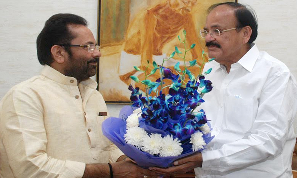 Delhi, 12th Sep.2017: The Union Minister for Minority Affairs, Shri Mukhtar Abbas Naqvi calling on the Vice President, Shri M. Venkaiah Naidu