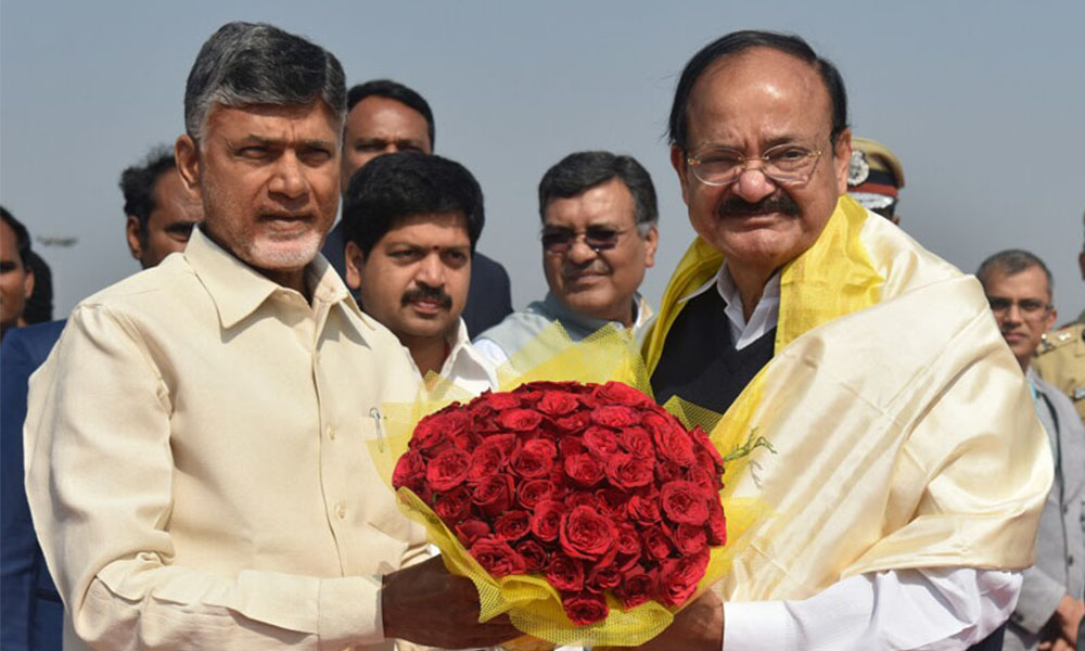 Vijaywada, 2nd Jan.2018: The Vice President, Shri M. Venkaiah Naidu being bid farewell by the Chief Minister of Andhra Pradesh, Shri N. Chandrababu Naidu, on his departure, in Vijayawada, Andhra Pradesh
