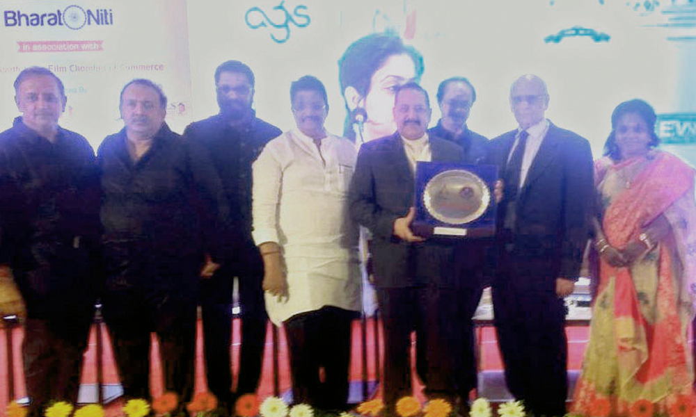 Chennai, 8th Jan.2018: The Minister of State for Development of North Eastern Region (I/C), Prime Minister's Office, Personnel, Public Grievances & Pensions, Atomic Energy and Space, Dr. Jitendra Singh being felicitated by the South India Film Industry, at a glittering function