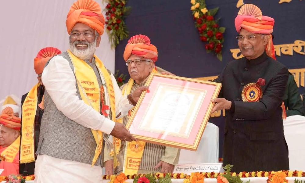 Uttar Pradesh, 9th Jan.2018: President, Shri Ram Nath Kovind during the 7th convocation of Jagadguru Rambhadracharya Handicapped University, at Chirakoot