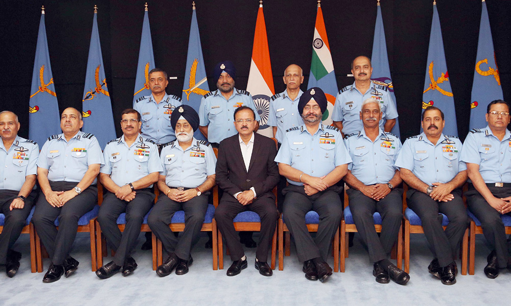 The Minister of State for Defence, Dr. Subhash Ramrao Bhamre with the Commanders of Indian Air Force, during the Air Force Commanders' Conference, in New Delhi.